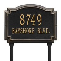 Whitehall Products Williamsburg 2-Line Standard Lawn Plaque in Black/Gold