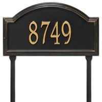 Whitehall Products Providence Arch 1-Line Standard Lawn Plaque in Black/Gold