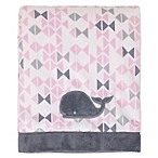 Nautica Kids® Mix & Match Velboa Whale Blanket in Pink/Grey