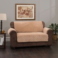 Plush Stripe Loveseat Cover in Chocolate