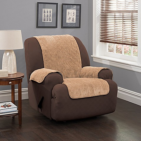 Buy Plush Stripe Recliner And Wing Chair Cover In Camel From Bed Bath B