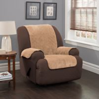 Plush Stripe Recliner and Wing Chair Cover in Camel