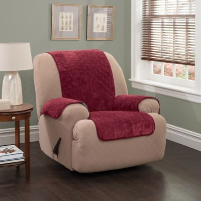 plush stripe recliner and wing chair cover in burgundy - Slipcover For Wingback Chair