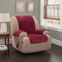 Plush Stripe Recliner and Wing Chair Cover in Burgundy
