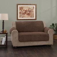 Plush Stripe Sofa Cover in Chocolate