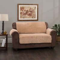 Plush Stripe Sofa Cover in Camel