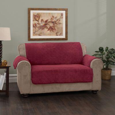 Plush Stripe Sofa Cover In Burgundy