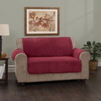 Plush Stripe Sofa Cover in Burgundy