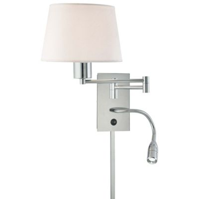 George Kovacs® Reading Room™ 1+1 LED Swing Arm Wall Sconce In Chrome