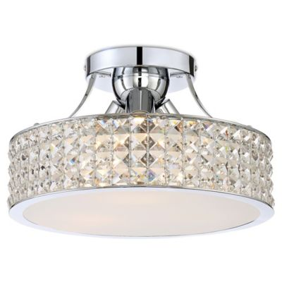 Quoizel platinum alexa 3 light semi flush mount ceiling light in chrome