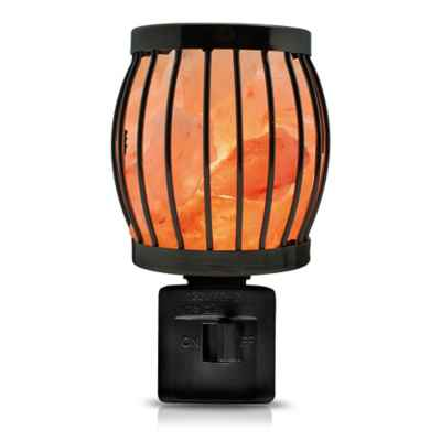 Himalayan Glow® Salt Crystal Lantern Nightlight in Black