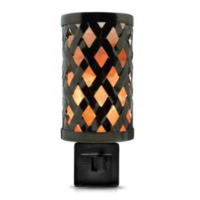 Himalayan Glow® Salt Lattice Metal Nightlight in Beige