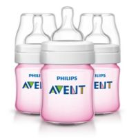 Philips AVENT 3-Pack 4 oz. Polypropylene Wide Neck Anti-Colic Bottles in Pink