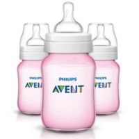 Philips AVENT 3-Pack 9 oz. Polypropylene Wide Neck Anti-Colic Bottles in Pink