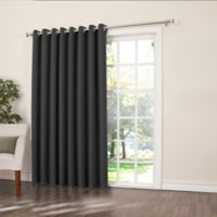 Sun Zero Bella 84-Inch Room-Darkening Extra-Wide Grommet Patio Door Panel in Black