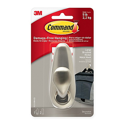 3m Command Large Adhesive Mount Metal Hook In Brushed