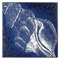 Cone Shell Wood Print Wall Art in Deep Navy