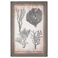 Coral Print Framed Wall Art in Blue