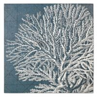 White Coral Wood Print Wall Art in Marine