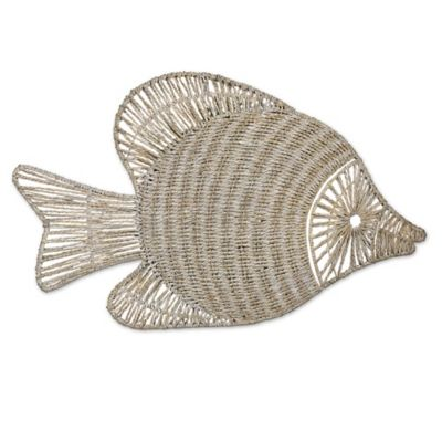 wicker fish wall art with white wash finish