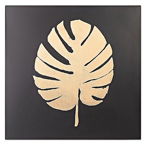 image of Metallic Palm Frond on Black Wall Art