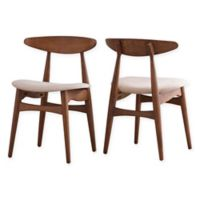 Verona Home Paloma Mid-Century Dining Chairs in Warm Chestnut/Beige (Set of 2)