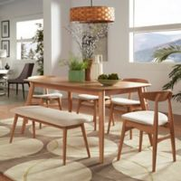 Verona Home Paloma Mid-Century 6-Piece Dining Set with 63-Inch Dining Table in Natural Beige