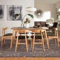Verona Home Paloma Mid-Century 7-Piece Dining Set with 59-Inch Dining Table in Natural/Black
