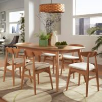 Verona Home Paloma Mid-Century 7-Piece Dining Set with 59-Inch Dining Table in Natural/Beige