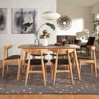 Verona Home Paloma Mid-Century 7-Piece Dining Set with 63-Inch Dining Table in Natural/Black