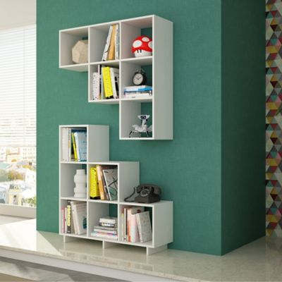 Superb Manhattan Comfort Cascavel Stair Cubby Book Case In White