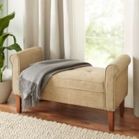 Chatham House Hampshire Faux-Leather Settee in Camel
