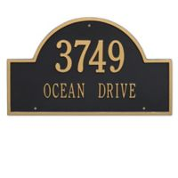 Whitehall Products Estate 2-Line Providence Arch Wall Marker in Black/Gold