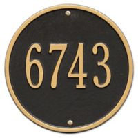 Whitehall Products 9-Inch Standard One Line Round Wall Address Plaque in Black/Gold