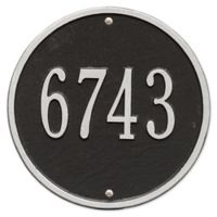Whitehall Products 9-Inch Standard One Line Round Wall Address Plaque in Black/Silver