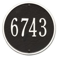Whitehall Products 9-Inch Standard One Line Round Wall Address Plaque in Black/White