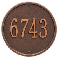 Whitehall Products 9-Inch Standard One Line Round Wall Address Plaque in Antique Copper