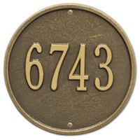 Whitehall Products 9-Inch Standard One Line Round Wall Address Plaque in Antique Brass