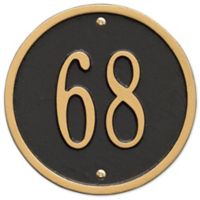 Whitehall Products 6-Inch One-Line Round Address Plaque in Black/Gold