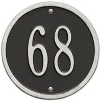 Whitehall Products 6-Inch One-Line Round Address Plaque in Black/Silver