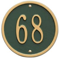 Whitehall Products 6-Inch One-Line Round Address Plaque in Green/Gold