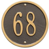 Whitehall Products 6-Inch One-Line Round Address Plaque in Bronze/Gold