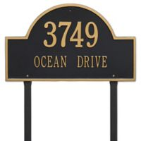 Whitehall Products Estate Lawn 2-Line Arch Marker in Black/Gold