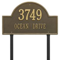 Whitehall Products Estate Lawn 2-Line Arch Marker in Antique Brass