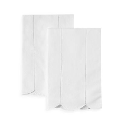 Perfect Boutross Hemstitch Rows Hand Towels In White (Set Of 2)