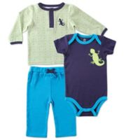 BabyVision® Yoga Sprout Size 0-3M 3-Piece Lizard Long Sleeve Top, Pant, and Bodysuit Set
