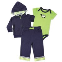 BabyVision® Yoga Sprout Size0-3M 3-Piece Turtle Bodysuit, Hoodie, and Pant Set in Green/Navy