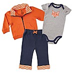Baby Vision® Yoga Sprout Size 6-9M 3-Piece Fox Bodysuit, Jacket, and Pant Set in Orange/Navy