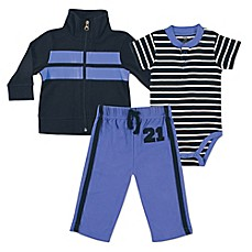 BabyVision® Hudson Baby® 3-Piece Rugby Bodysuit, Jacket, and Pant Set in Blue