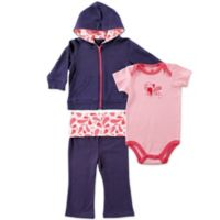 BabyVision® Yoga Sprout Size 0-3M 3-Piece Paisley Bodysuit, Hoodie, and Pant Set in Coral/Navy